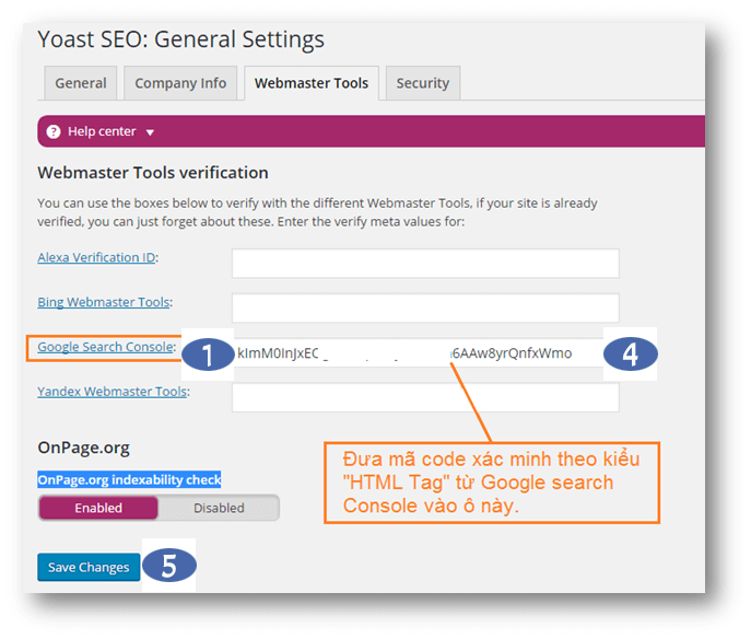 yoast SEO gan website vao cong cu webmaster tools (Google Search Console)
