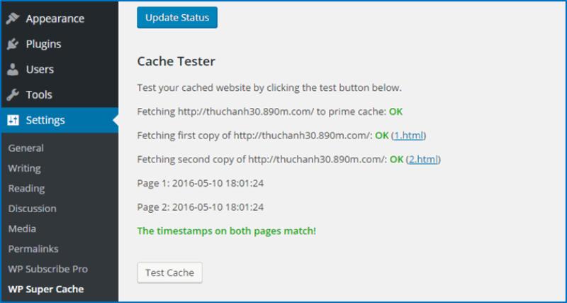 Kiểm tra chức năng cache đã hoạt động ổn chưa