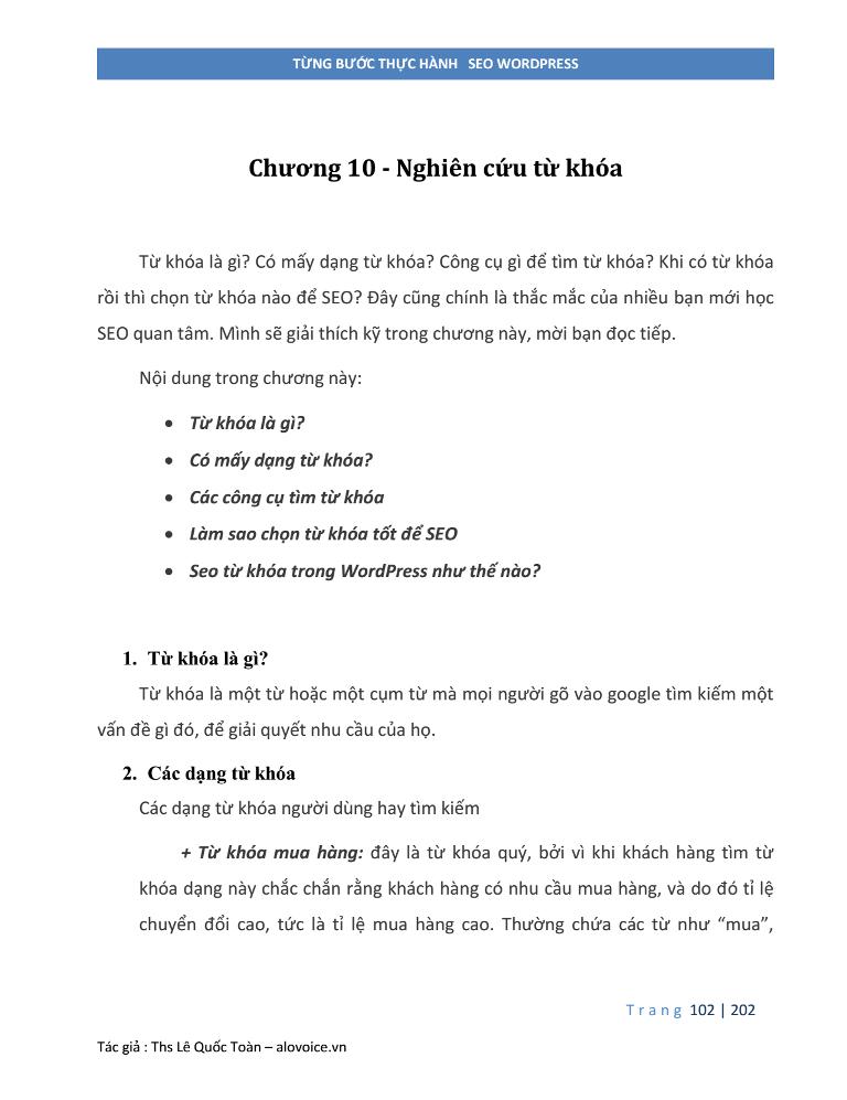 Sách seo WordPress - Nghiên cứu từ Khóa - alovoice